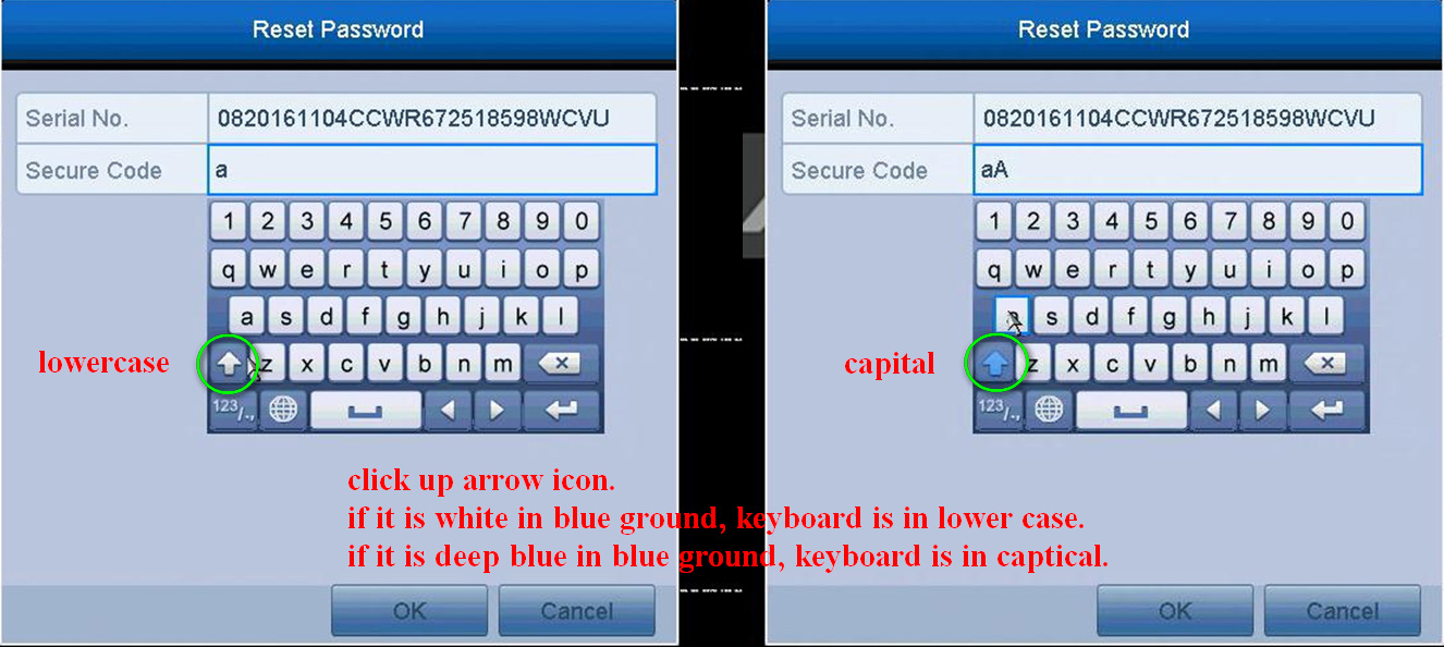 How to switch the keyboard from lowercase to uppercase on Hikvision DVR/NVR