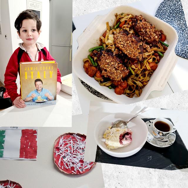 Traditional Italian cooking with kids pollo allo zafferano Limoncello Tiramisu