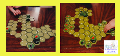 A Mom's Quest to Teach: Building Critical Thinking Skills with Games: A Review of Battle Sheep with two photos of game play