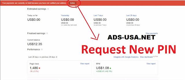 Contoh pemberitahuan untuk verifikasi PIN Google AdSense