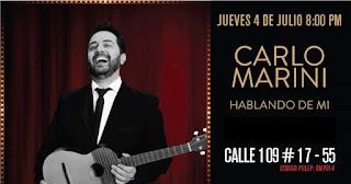 Hablando de mi con Carlos Marini en CABARET SHOW Bogotá