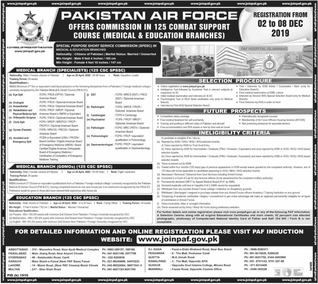 Join Pakistan Air Force December 2019 education branches