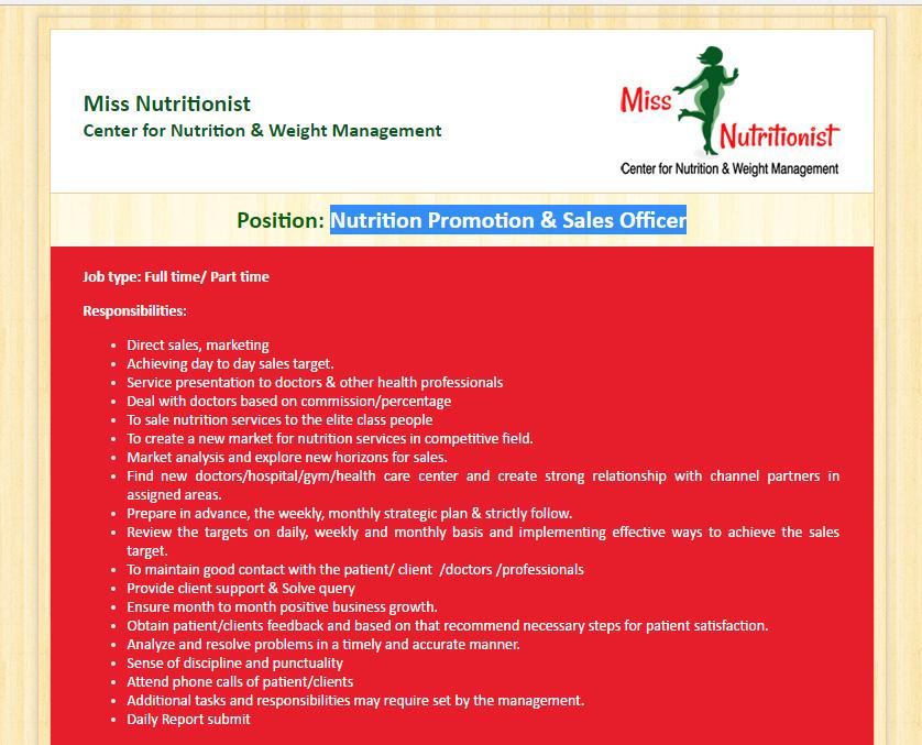 Miss Nutritionist- Center for Nutrition  Weight Management - nutritionist job description