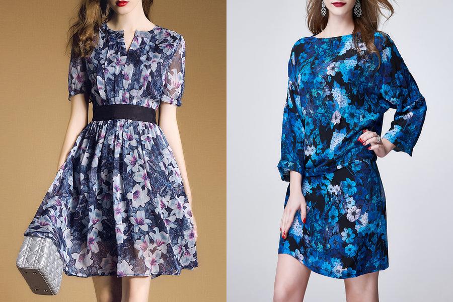 Vestidos florais cor azul