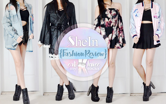 Since summer's quickly coming to an end, I chose some fall-friendly fashion picks for my latest SheIn review! Read on for the details on these four stylish pieces: a distressed oversized denim jacket, silky lace-trim robe, off-shoulder bell sleeve floral romper, and colorblocked satin pastel bomber jacket! - Eat My Knee Socks / Mimchikimchi
