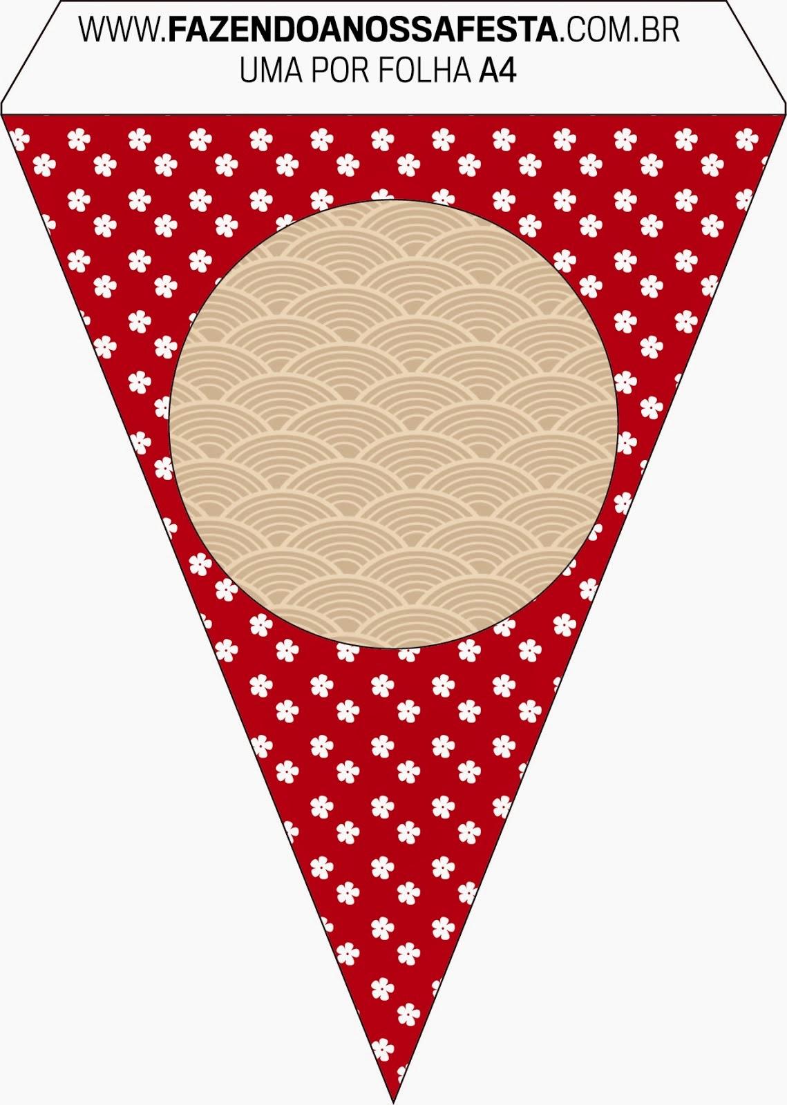 Banderines para Imprimir Gratis de Fiesta Estilo Japonés.