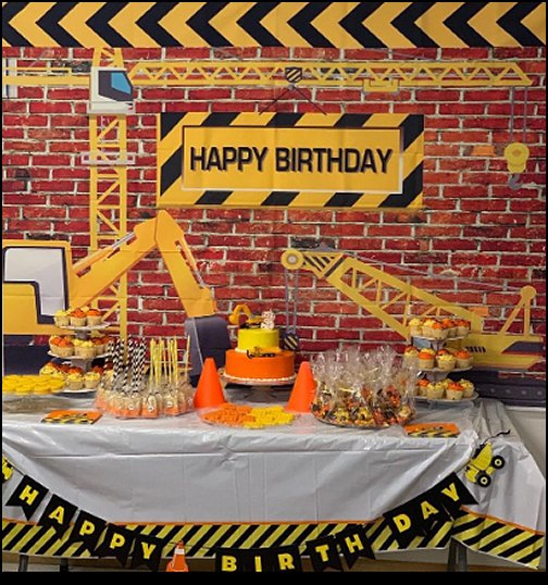 Construction Theme Birthday Party Backdrop Bricks  Construction party ideas - construction party decorations - digger construction party props - Dump Truck Party Decorations - crane construction theme party - work truck decorations - Digger Zone Boys Birthday Party -