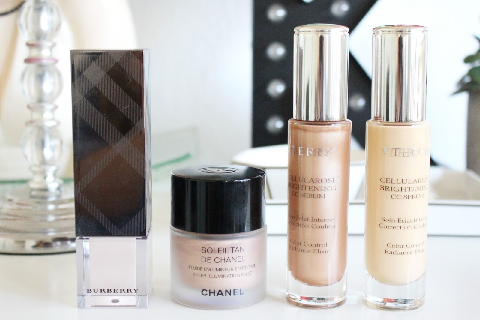By Terry Cellularose Brightening CC Serum, Chanel Soleil Tan Sheer Illuminating Fluid, Burberry Fresh Glow Luminous Fluid Base