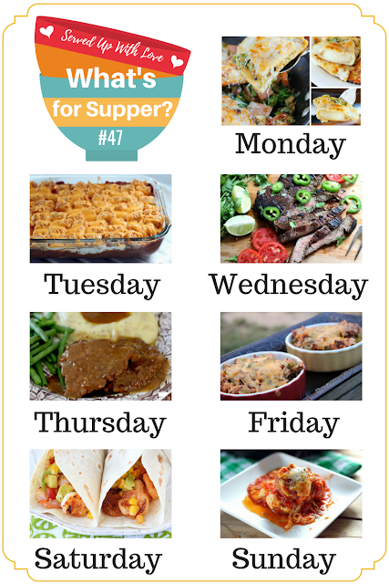 Crock Pot Cubed Steak and Gravy, Taco Tater Tot Casserole, Inside Out Stuffed Pepper, Apple Cobbler Dump Cake, and so much more at What's for Supper Meal Plan over at Served Up With Love