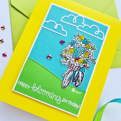 Newton's Nook Loads of blooms, NND Floral card, Floral stamp, Girl with flowers on cycle, Floral cycle birthday card, Colored cardstock cardmaking, Quillish, Time out challenges, Crafty Meraki Butterfly Gems