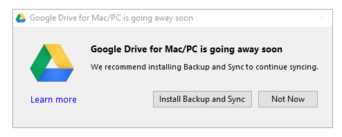 Google Drive for Mac / PC is going away. Alternative - Google Backup and Sync