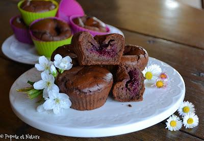 Muffins au chocolat et aux haricots rouges fourrés aux framboises © Popote et Nature
