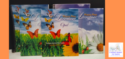 A Mom's Quest to Teach:  Building Reading Comprehension and Fluency Skills: A Review of Mosdos Press Literature - Opal with photograph of the curriculum
