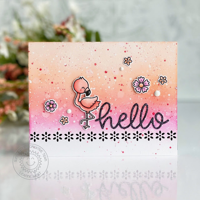 Sunny Studio Stamps: Fabulous Flamingos Eyelet Lace Border Dies Hello Card by Leanne West