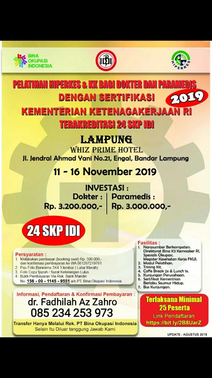 Pelatihan Hiperkes Lampung 2019 Untuk Dokter dan Paramedis