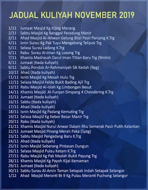 Jadual Penuh Kuliah Ustaz Azhar Idrus (UAI) Bulan November 2019