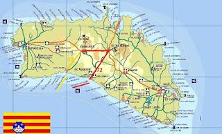 Térkép a busz útvonalakkal Cala Galdana-ba