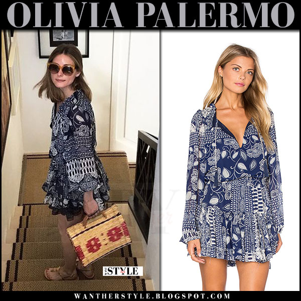 Olivia Palermo in blue printed ruffled mini dress misa los angeles lorena what she wore july 2017 capri