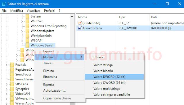 Creare nuovo valore dword Editor registro di sistema