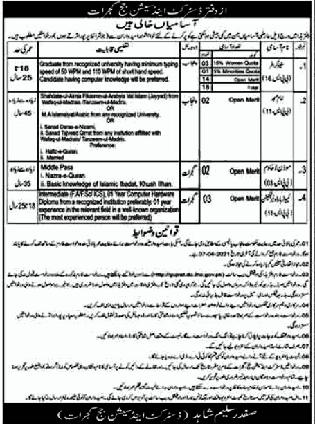 District & Session Court Legal Posts Gujrat Jobs in Pakistan Latest