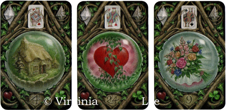 Enchanted Lenormand, House, Heart, Bouquet