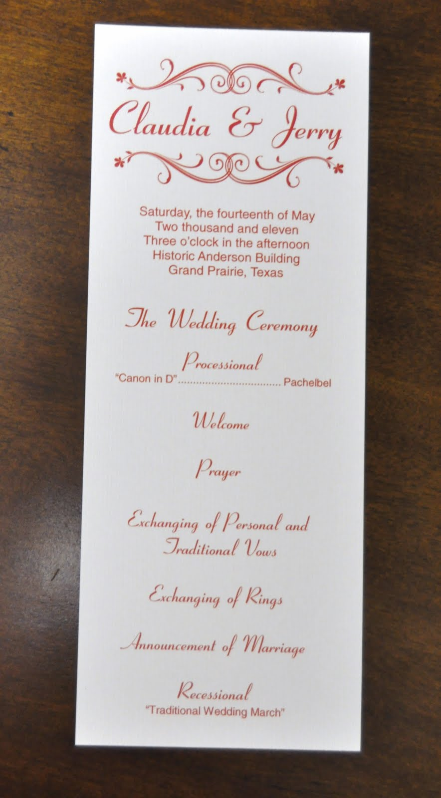 Sample Wedding Programs: Claudia + Jerry Wedding Programs