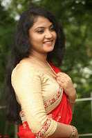 Akshara in Red Saree Golden Choli at LV Movie Makers Production No 1 Movie Opening ~  Exclusive 079.JPG