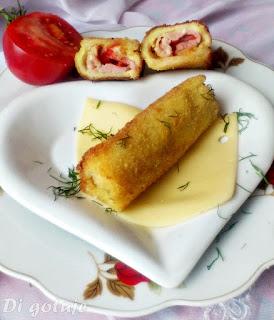 Krokiety z chleba tostowego (z serem i szynką)