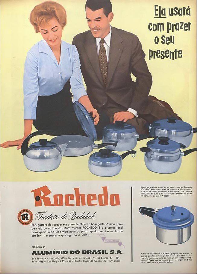 Propaganda antiga da Rochedo promovendo sua linha de panela para as mulheres nos anos 50