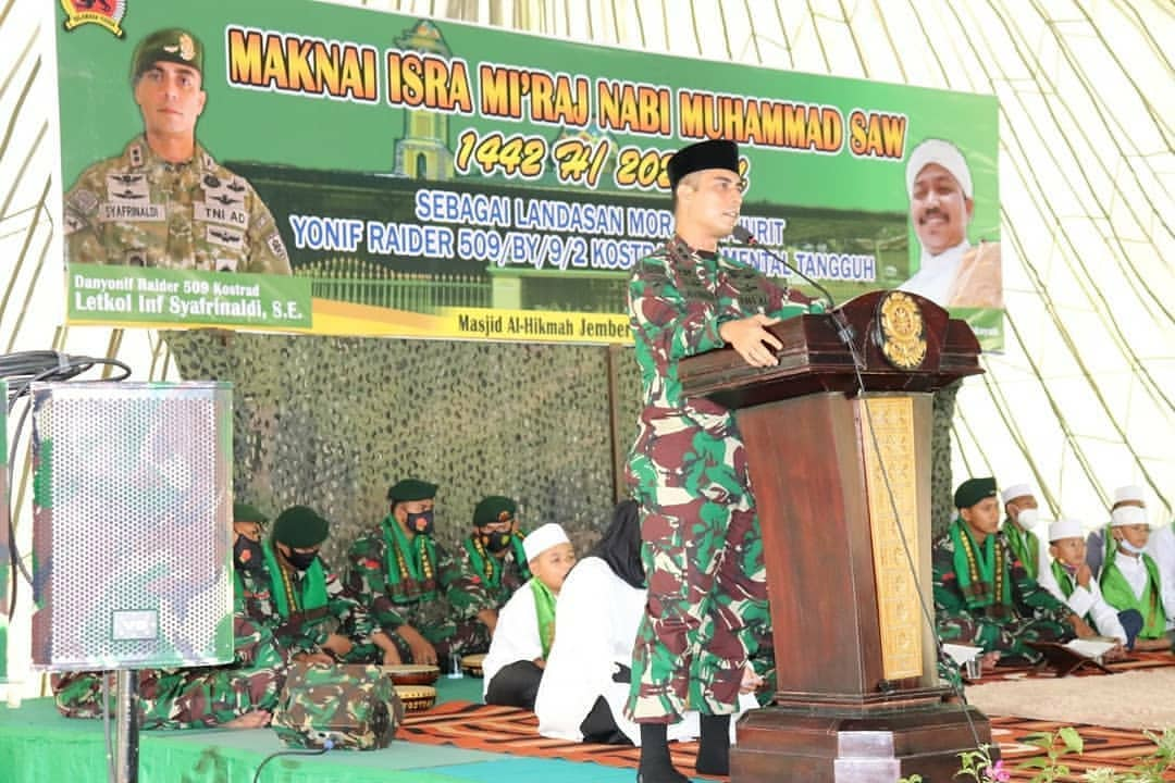 Yonif Raider 509 Kostrad Gelar Peringatan Isra' dan Mi'raj Nabi Muhammad SAW di Jember