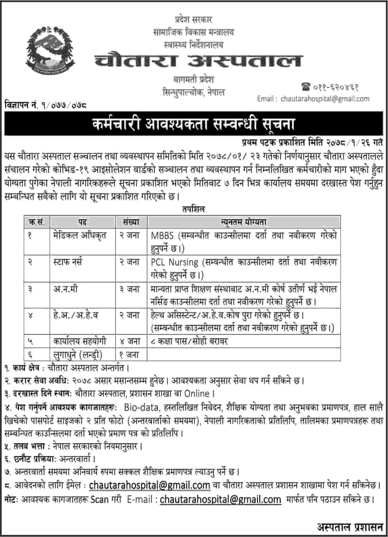 Chautara Hospital Sindhupalchowk Vacancy Announcement
