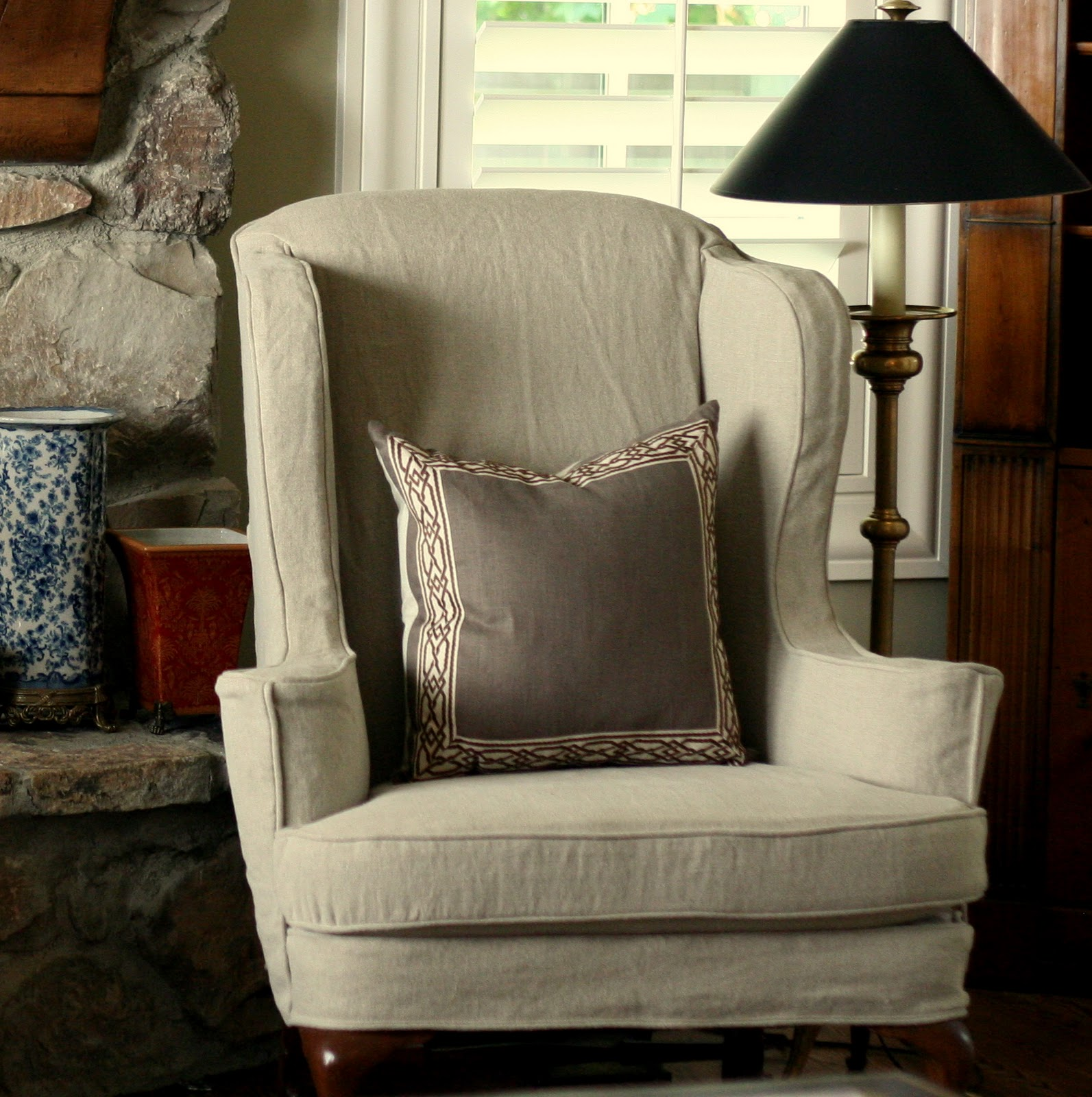 Slip Cover Chairs Custom Slipcovers By Shelley Tan Linen Wingbacks