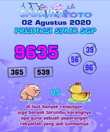 Prediksi Sakuratoto SGP Minggu 02 Agustus 2020