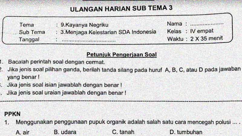 Soal Penilaian Harian Kelas 4 Tema 9 Subtema 3