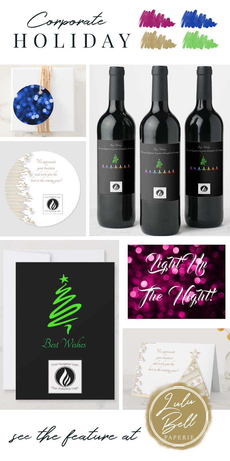 Royal Blue Gold and Green Corporate Christmas Color Palette Inspiration - Favor Tags, Wine Labels, Stickers, and Greeting Cards