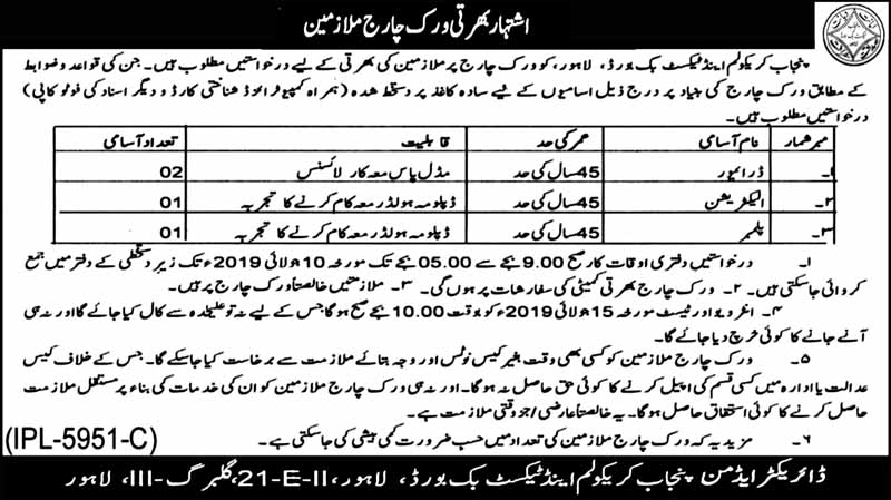 Latest Jobs In Punjab Curriculum And Textbook Board PCTB 04 July 2019
