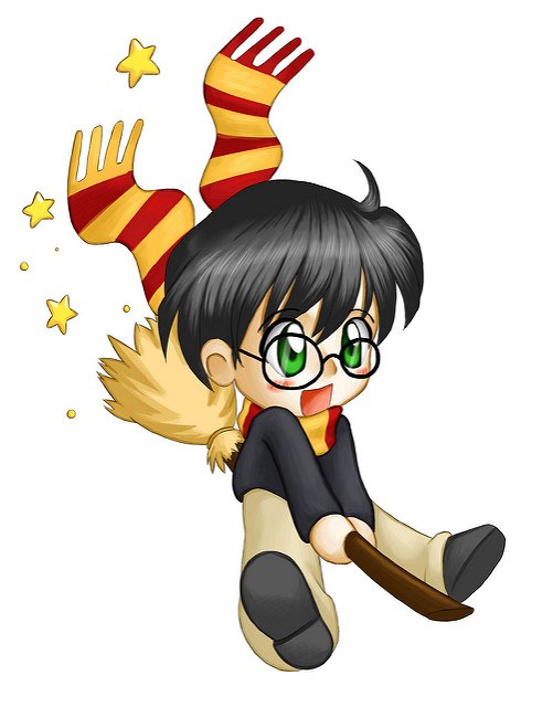 Harry Potter Boy Wizard on Broom Image
