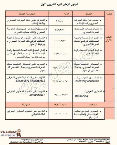 الجدول التدريبي لليوم الأول للترقية 2017-2018