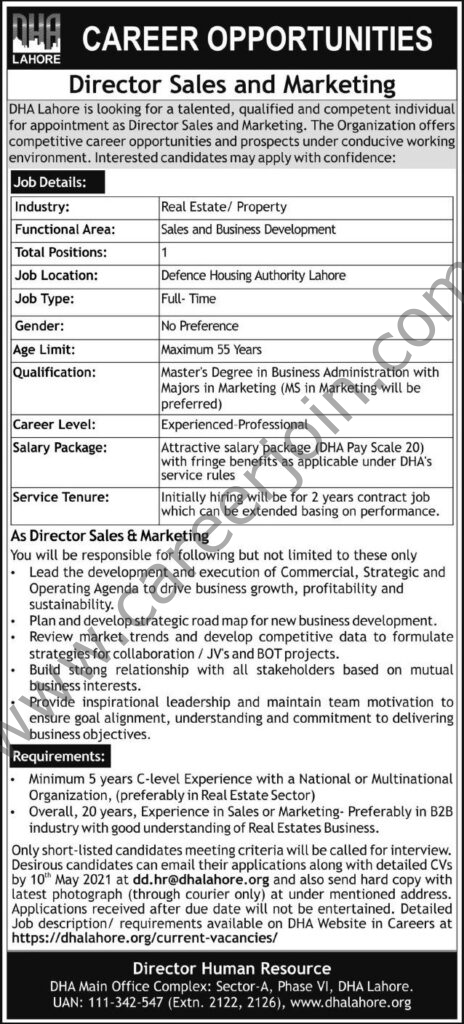 dd.hr@dhalahore.org - dhalahore.org Jobs 2021 - Defence Housing Authority DHA Jobs 2021 in Pakistan