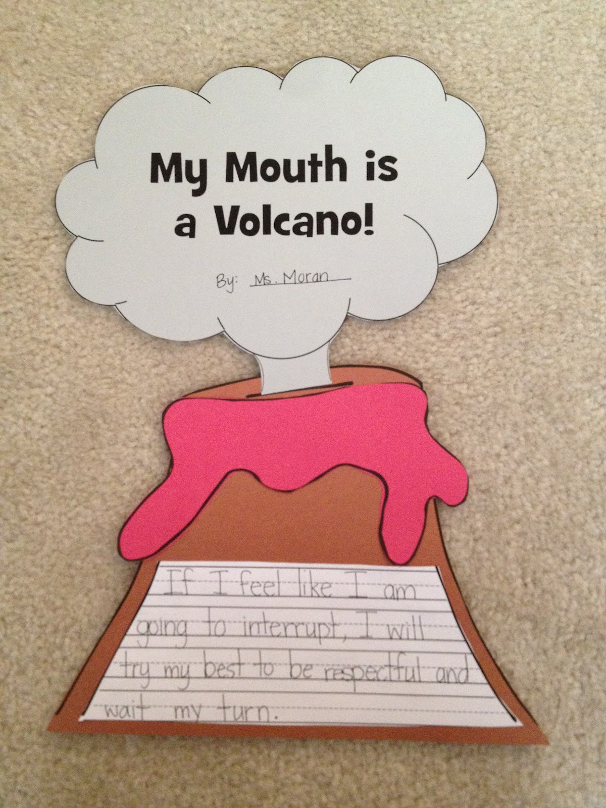 my mouth is a volcano writing activity for preschoolers