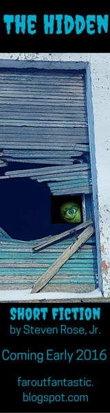 Bookmark depicting the right top portion of a green face peering out of a blackened window.