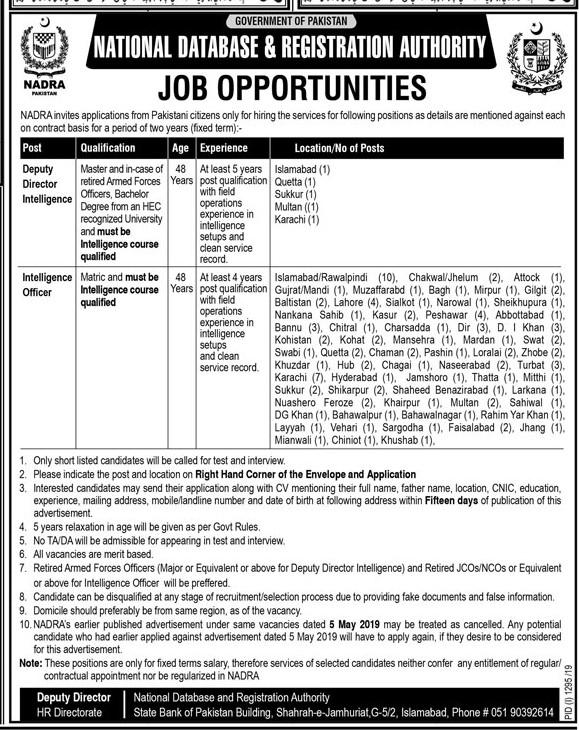 Jobs In National Database & Registration Authority (NADRA