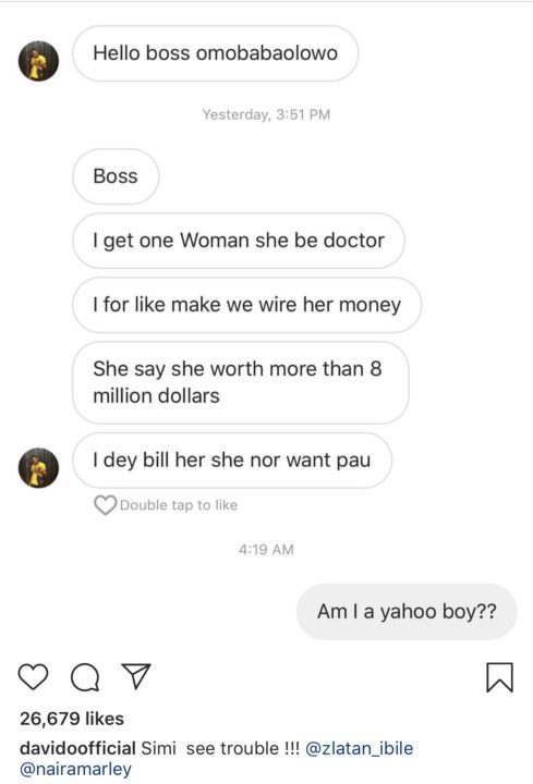 Davido shares message sent to him by yahoo boy