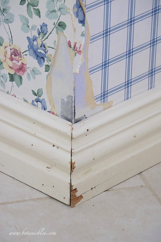 French Country Laundry One Room Challenge Wk 1 Before Damaged Baseboards and Sheetrock