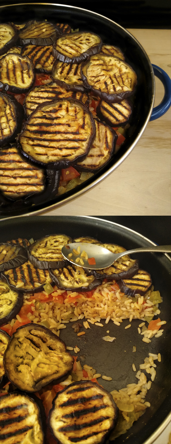 ARROZ ESPECIADO CON BERENJENAS MELOSAS una estupenda receta vegana la cocinera novata receta cocina bajo en calorias vegetariano vegano pilav pilaf pobres economica turca oriental arabe hindu india tupperware comida para llevar oficina