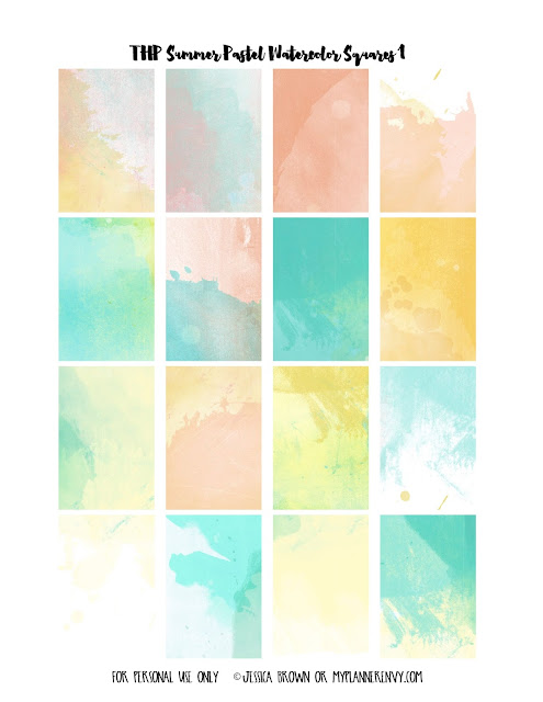 Free Printable Summer Pastel Watercolor Weekly Squares Page 1 for the Happy Planner on myplannerenvy.com