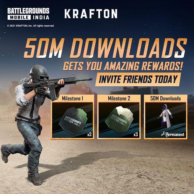 50 Million download reward on BGMI