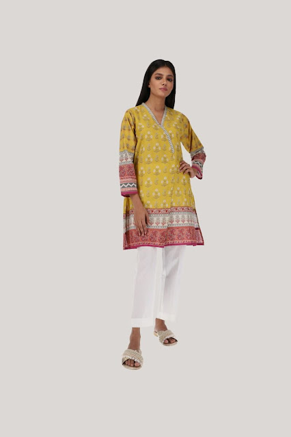 Khaadi winter collection yellow printed kurta