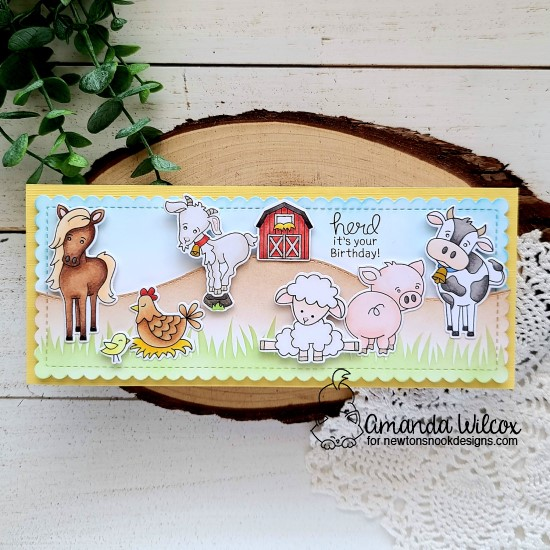 Farm Card by Amanda Wilcox | Neigh, Cluck, Bleat, Baa, Oink and Moo Farm animal Stamp Sets, Hills & Grass Stencil and Land Borders and Slimline dies by Newton's Nook Designs #newtonsnook #handmade