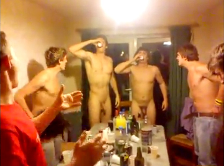 nude guys drinking vodka